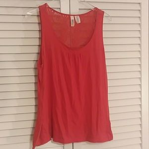 Route 66 orange sleeveless top with lace back